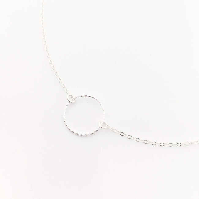 STERLING SILVER TWISTED HOOP NECKLACE