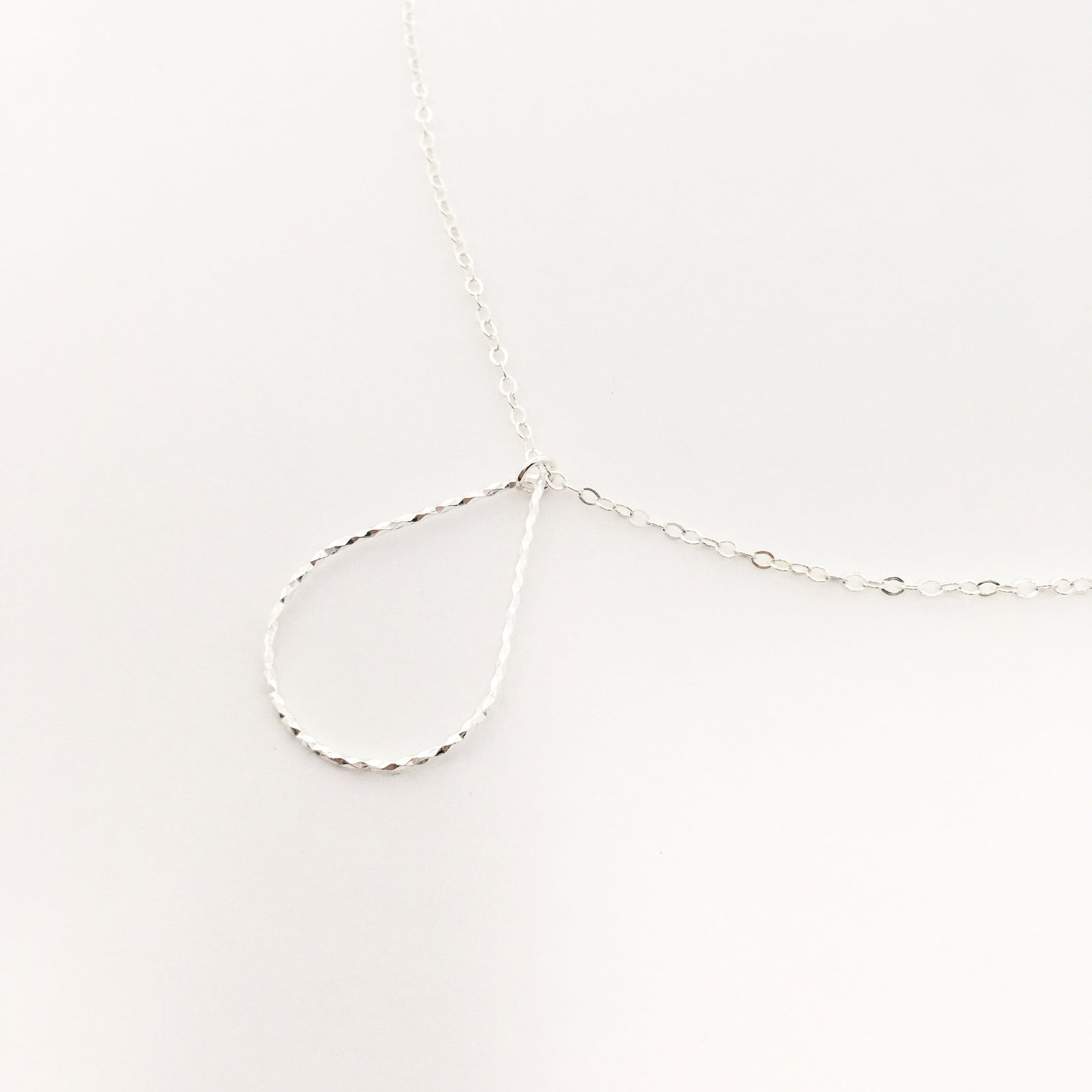 STERLING SILVER TWISTED DROP NECKLACES | SIZE OPTIONS