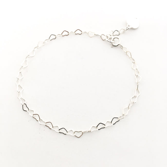 STERLING SILVER HEART CHAIN ANKLET