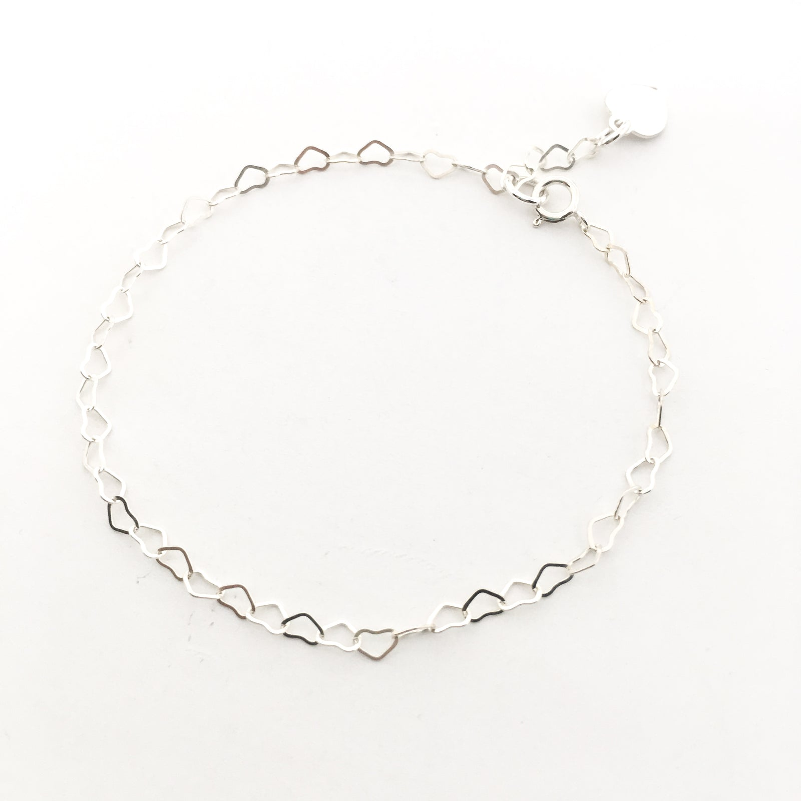 STERLING SILVER HEART CHAIN BRACELET