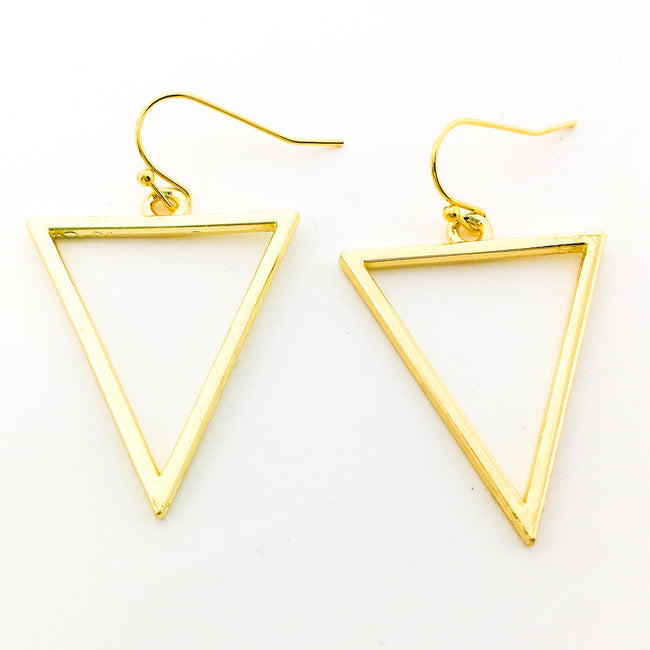 HANGING TRIANGLE EARRINGS | GOLD