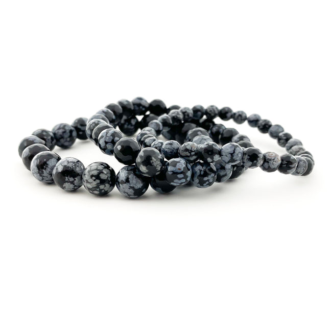 FACETED SNOWFLAKE OBSIDIAN STONE BRACELET | SIZE OPTIONS