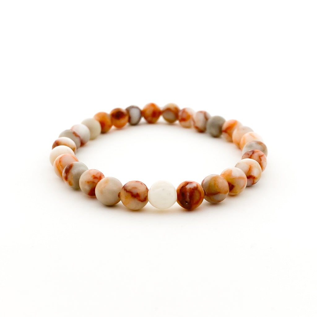 MENS RED WEB JASPER BRACELET | MATTE | SIZE OPTIONS