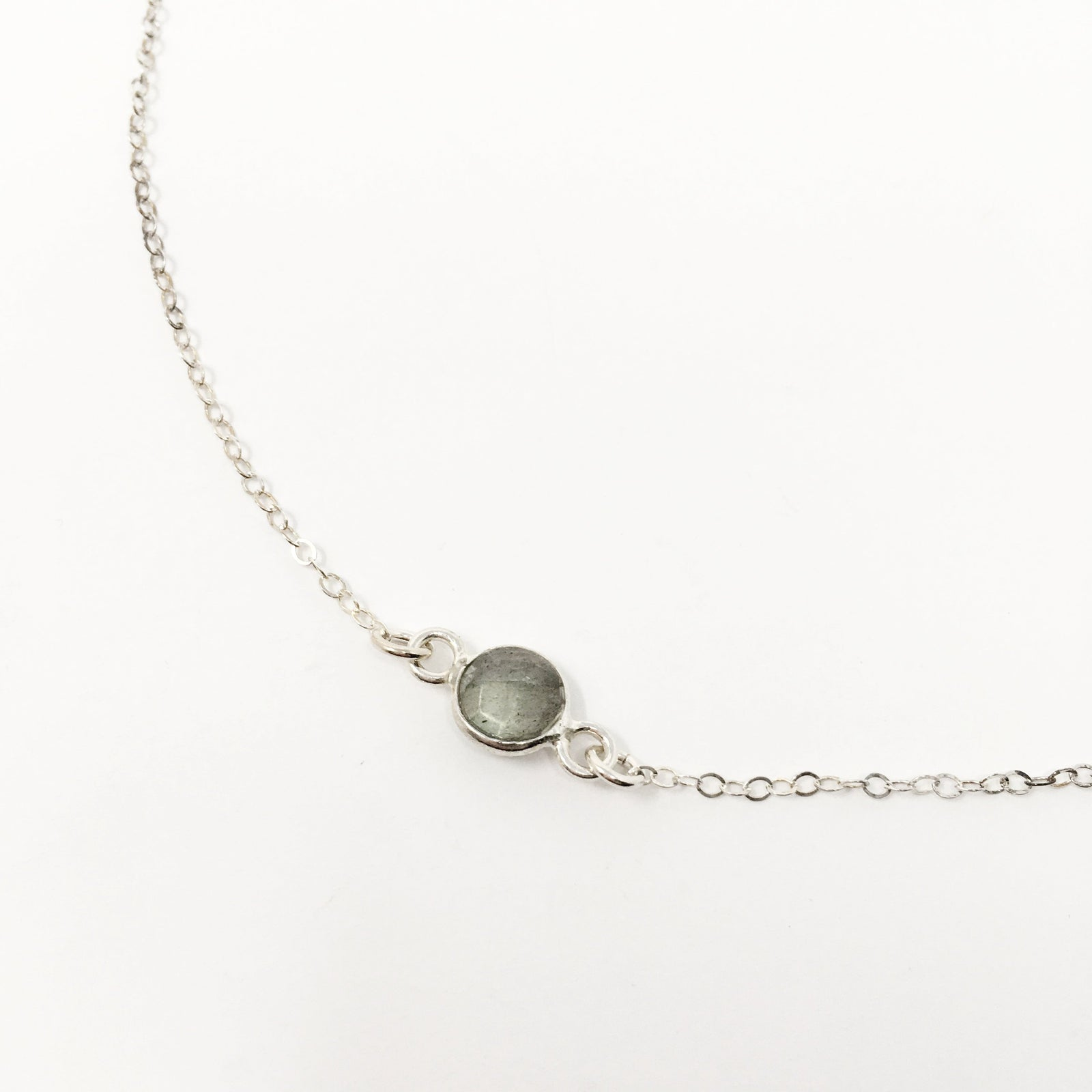 STERLING SILVER LABRADORITE STONE NECKLACE
