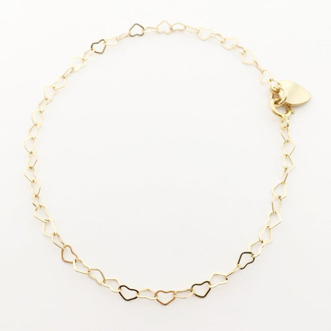 14K GOLD-FILLED HEART CHAIN BRACELET