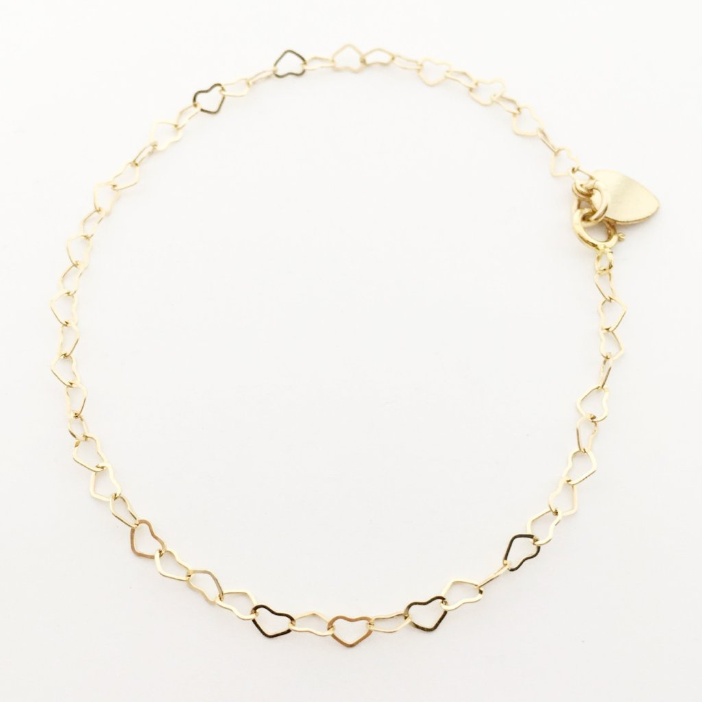 14K GOLD-FILLED HEART CHAIN ANKLET
