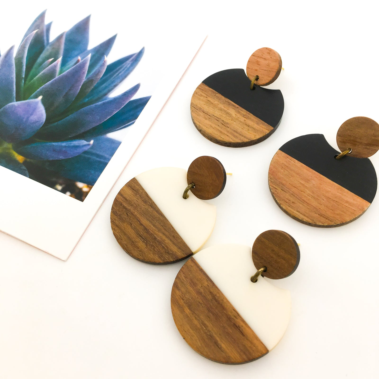 HANGING WOOD & RESIN SPHERE EARRINGS | SYTLE OPTIONS