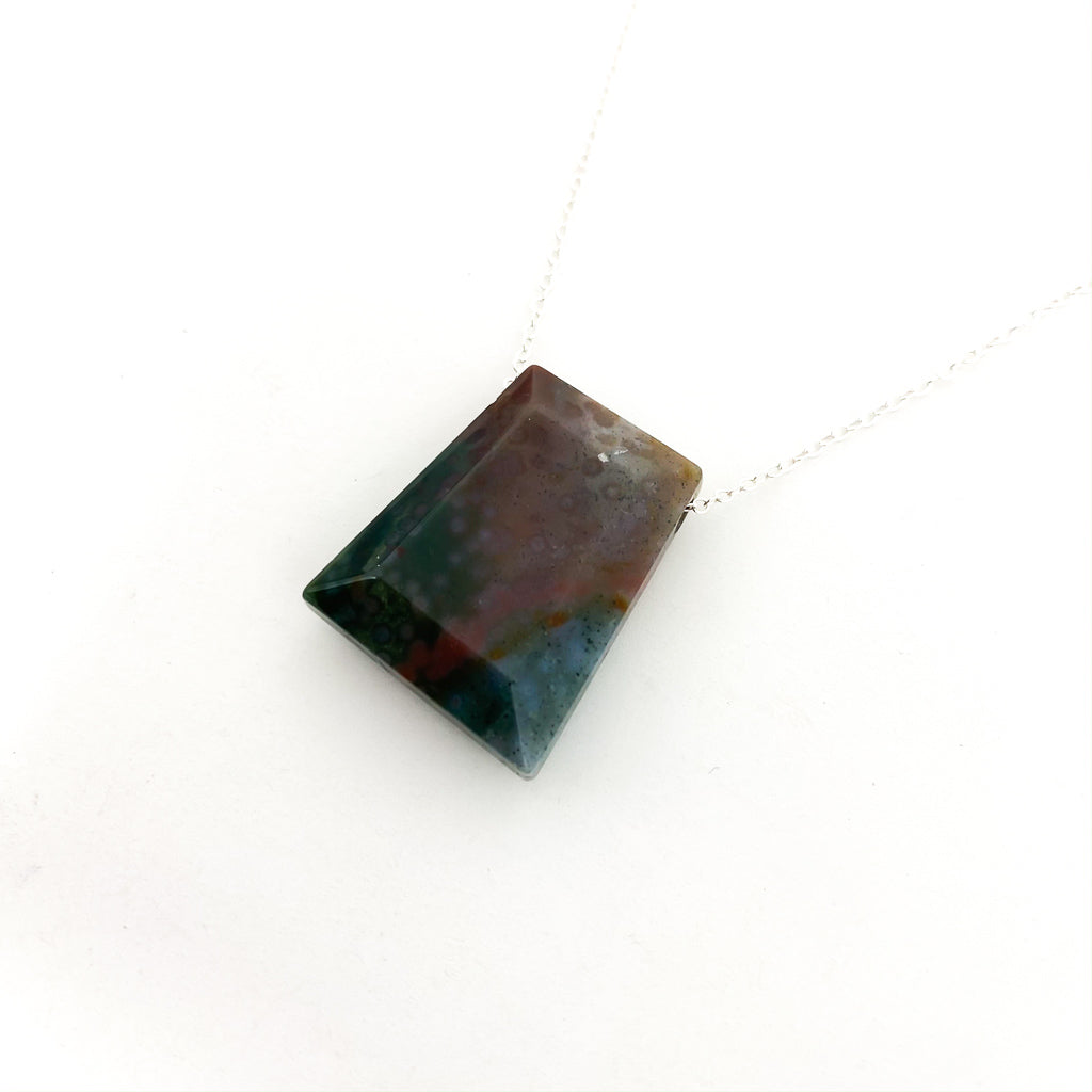 TRAPEZOID STONE NECKLACES | STERLING SILVER | STYLE OPTIONS