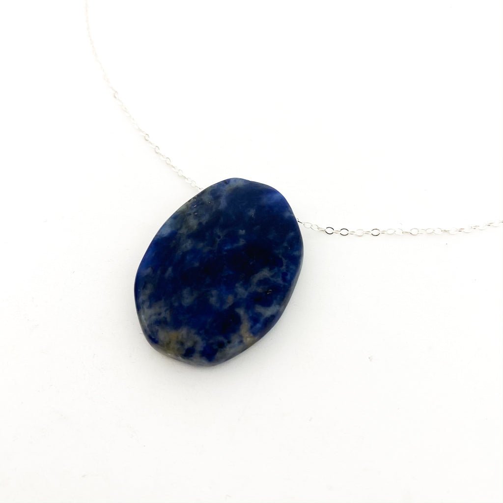 LARGE SMOOTH OVAL STONE NECKLACES | STERLING SILVER | STYLE OPTIONS