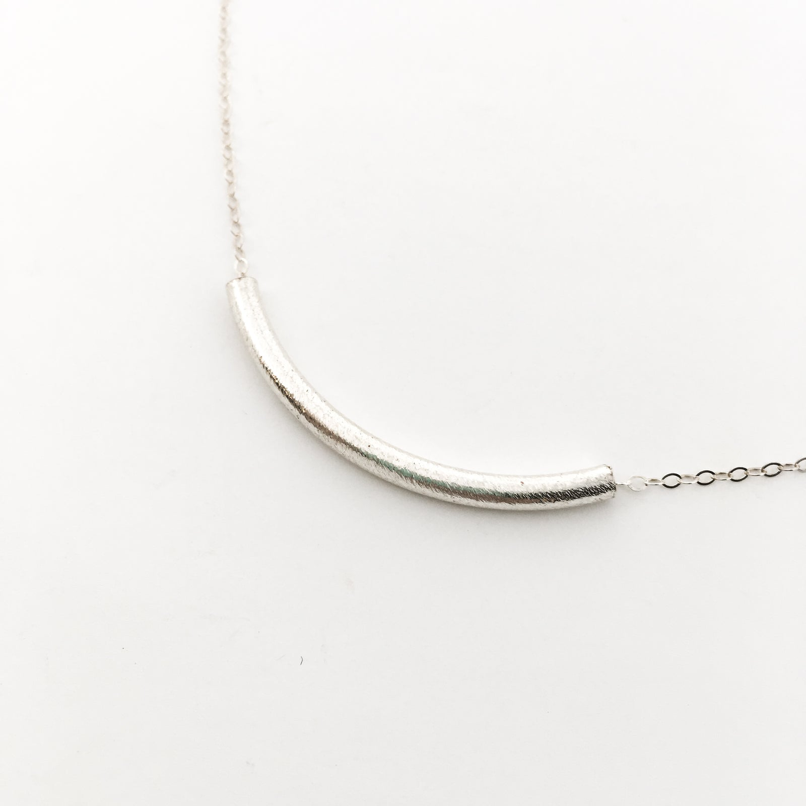 BRUSH CURVED BAR NECKLACES | STERLING SILVER | SIZE OPTIONS