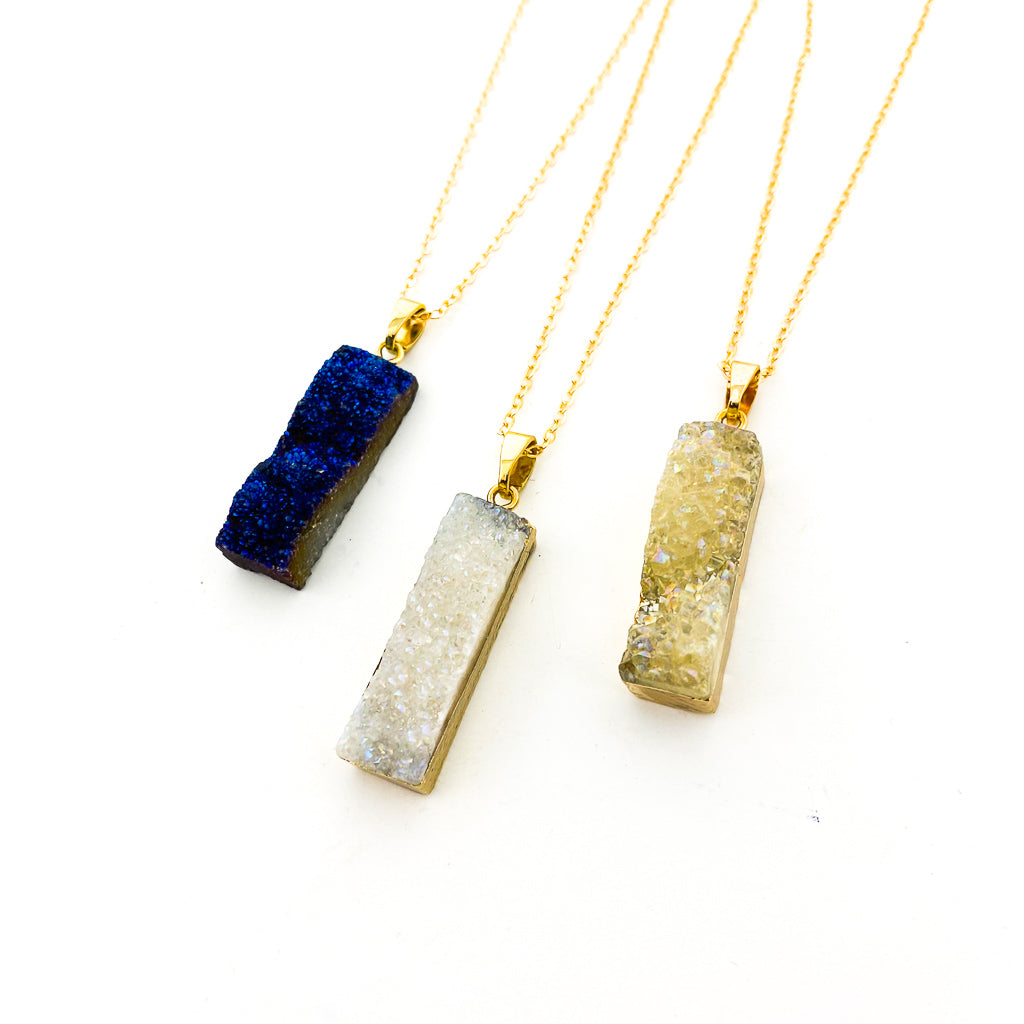 LONG DRUZY STONE NECKLACE | GOLD | STYLE OPTIONS