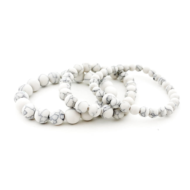 WHITE HOWLITE BRACELETS | MATTE | SIZE OPTIONS