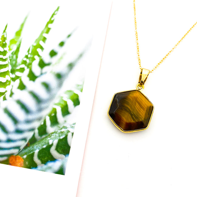 TIGERS EYE HEXAGON PENDANT NECKLACE