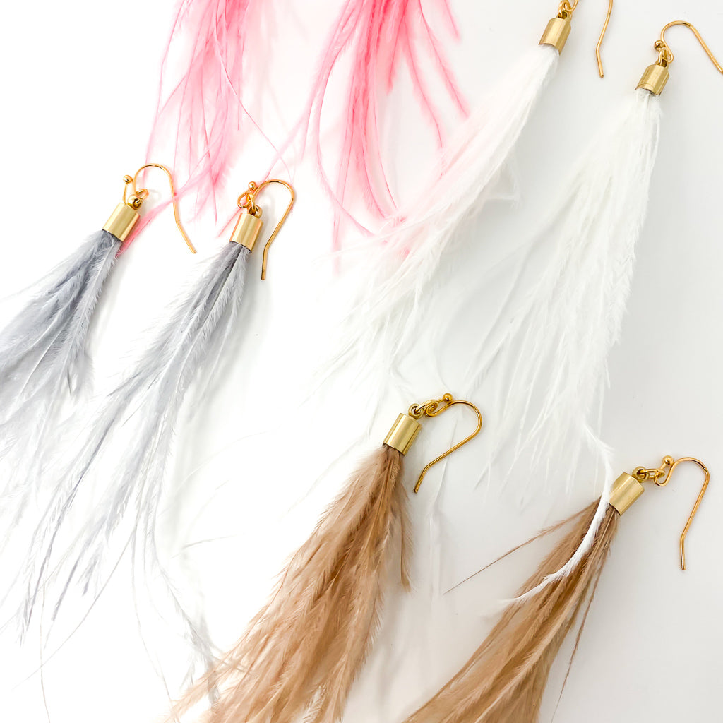 LONG FEATHER EARRINGS | COLOR OPTIONS
