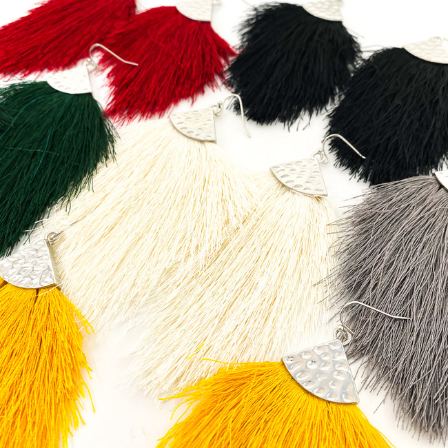 FEATHERED CUT TASSEL EARRINGS | COLOR OPTIONS