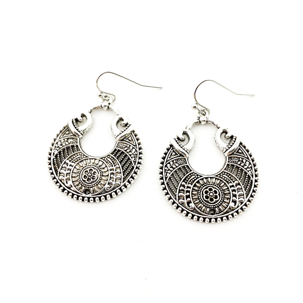 FLORAL ATHENA EARRINGS | SILVER