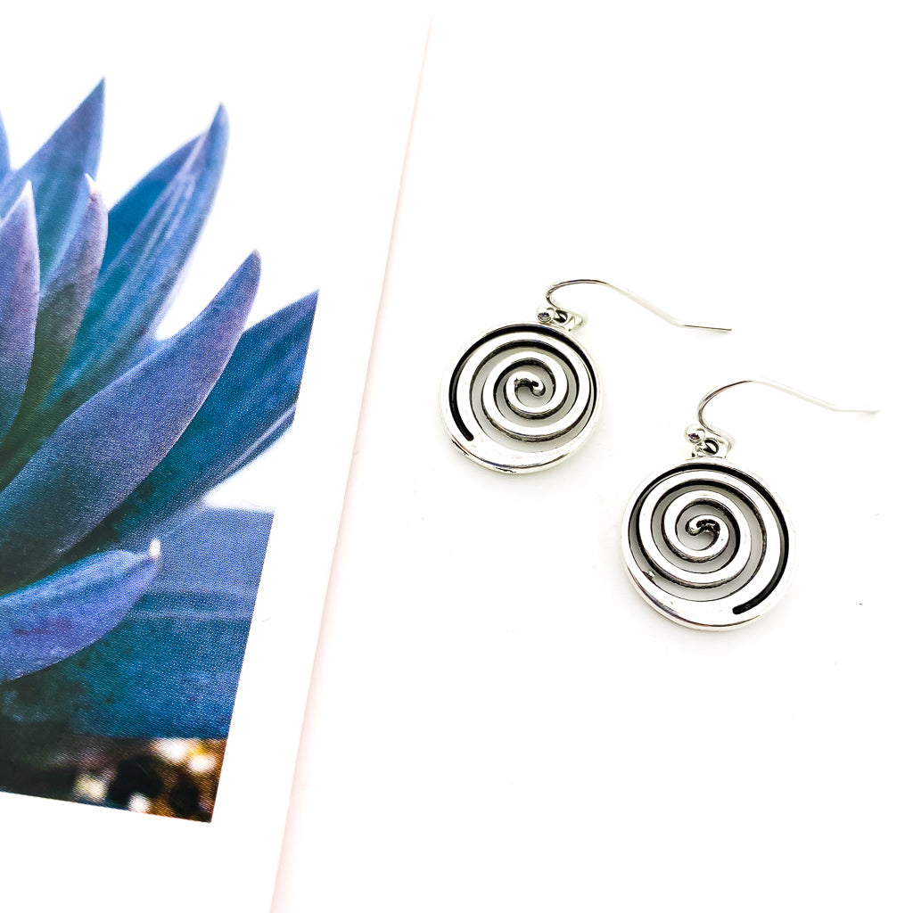 SILVER OPEN SPIRAL EARRINGS