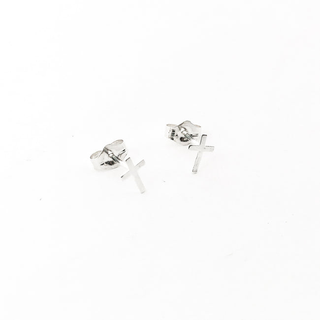 MINI CROSS STUD EARRINGS | STERLING SILVER