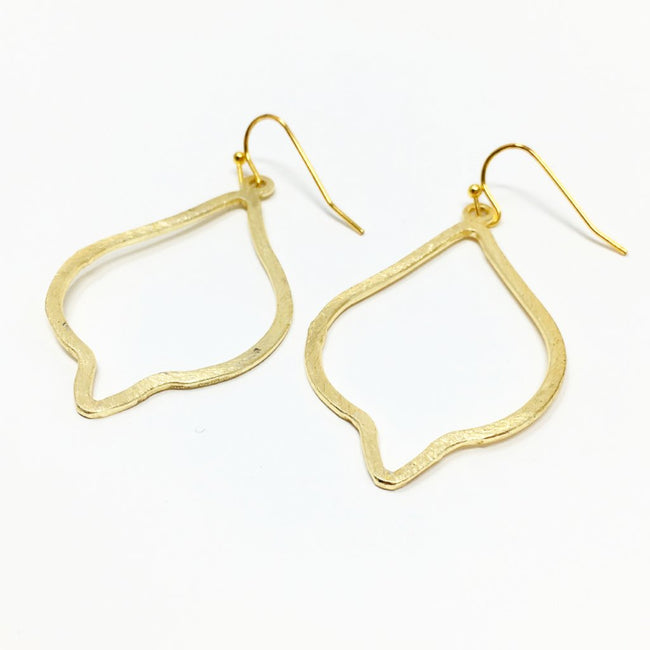 BRUSHED OGEE DROP EARRINGS | GOLD