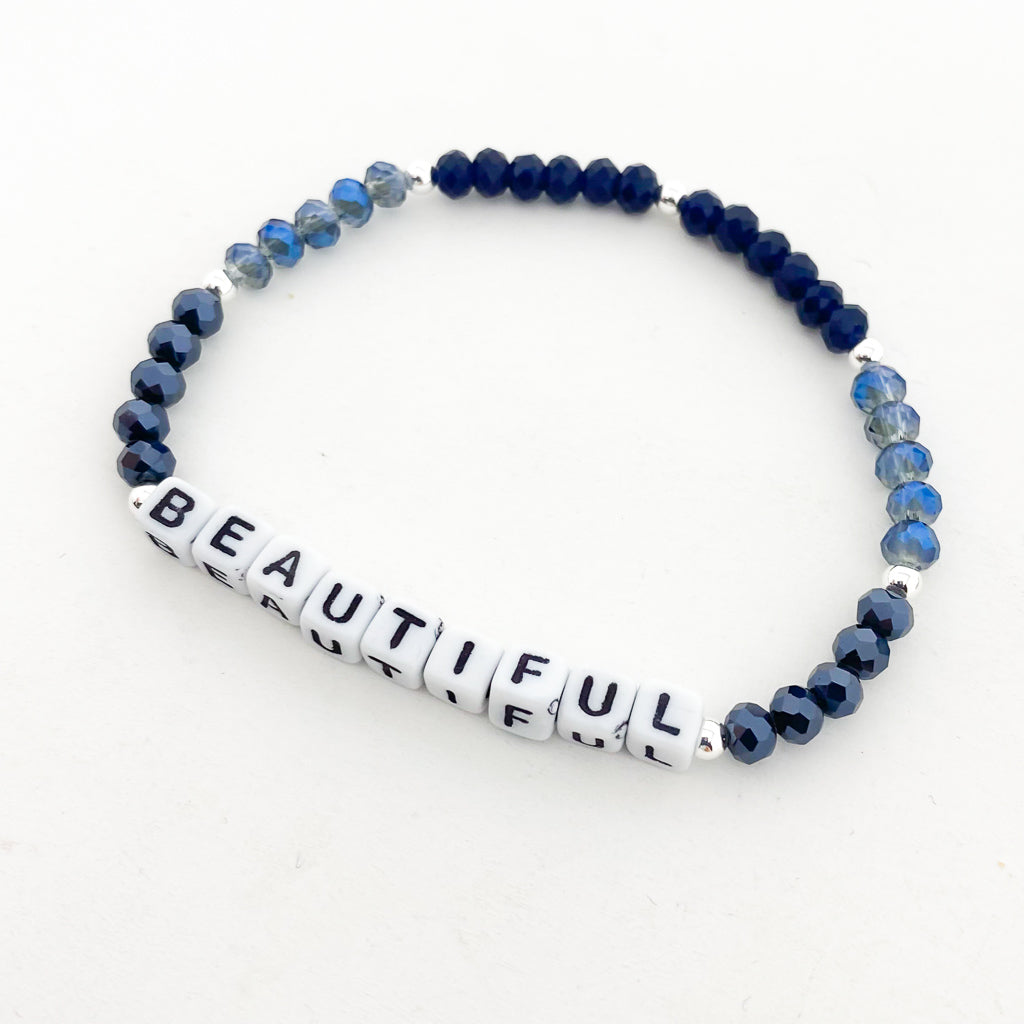 STERLING SILVER ACCENTED CRYSTAL BRACELETS WITH WORDS | 4MM | BLUES