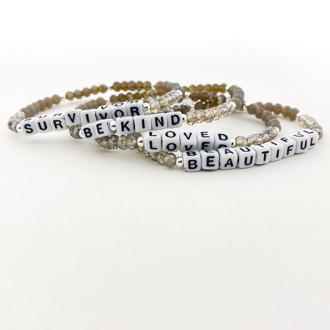 STERLING SILVER ACCENTED CRYSTAL BRACELETS WITH WORDS | 4MM | GREY