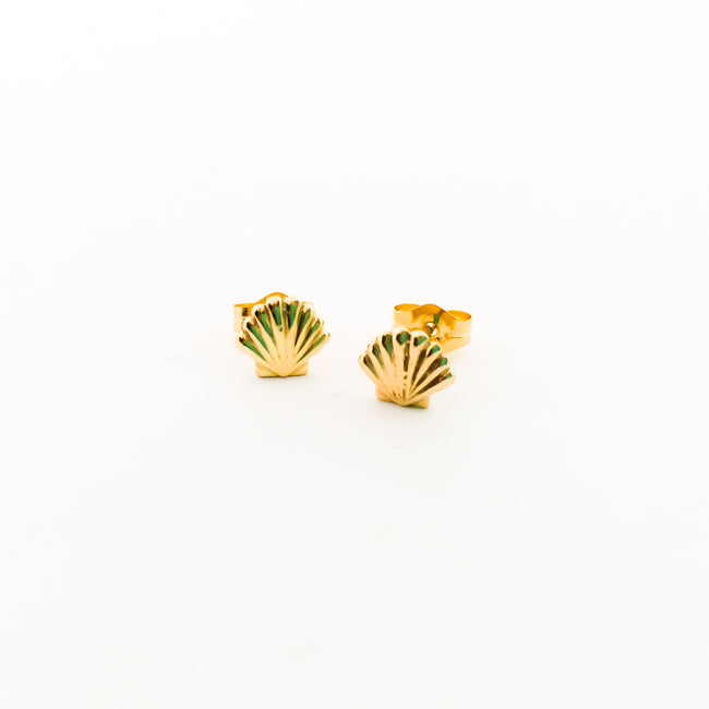BAY SEASHELL STUD EARRINGS | 14K GOLD-FILLED