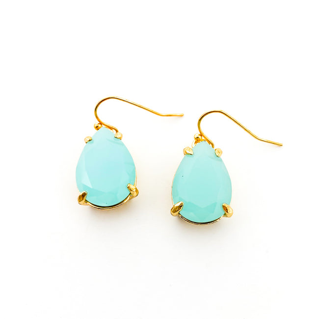 TURQUOISE STONE DROP EARRINGS | GOLD