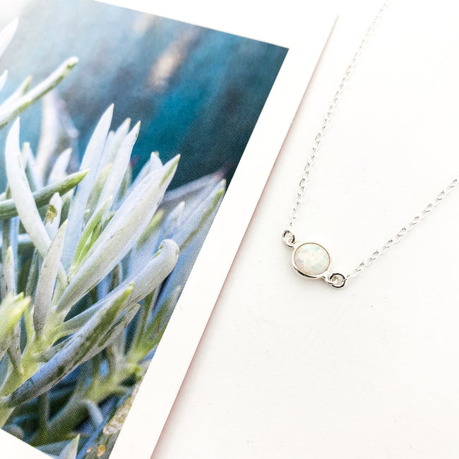 STERLING SILVER HELD NECKLACE | LAB OPAL