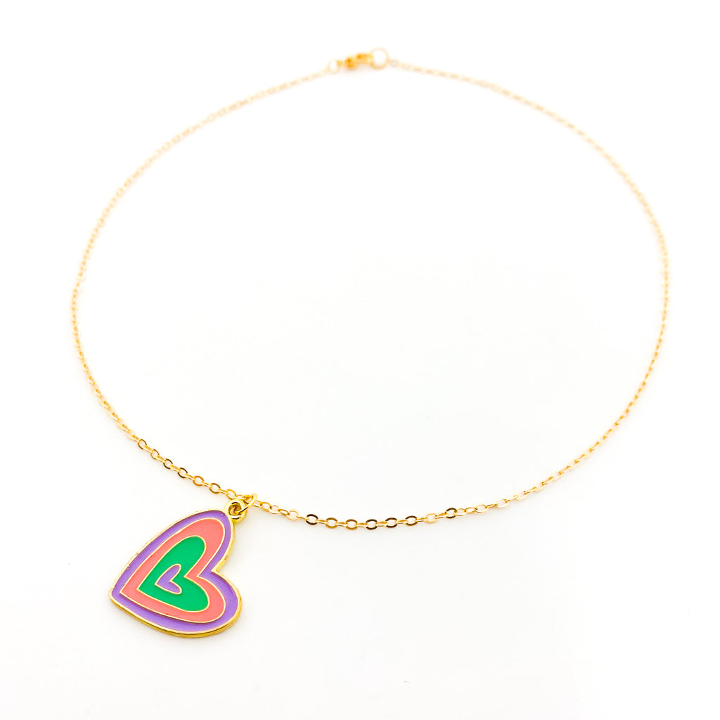KIDS COLORFUL HEART NECKLACE | GOLD
