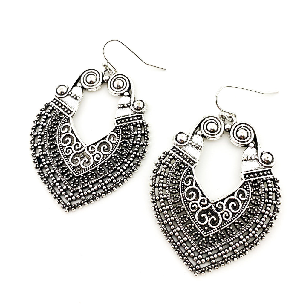 CLEOPATRA SPIRAL PATTERN EARRINGS | SILVER