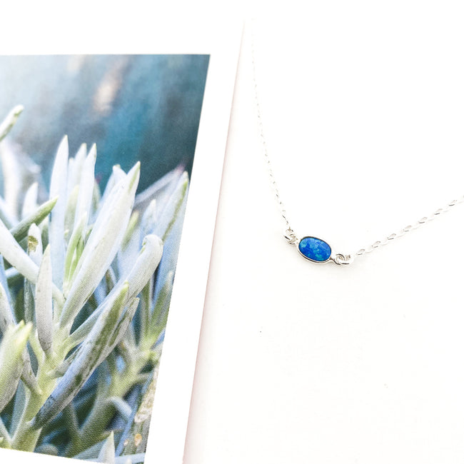 HELD BLUE LAB OPAL NECKLACE | STERLING SILVER