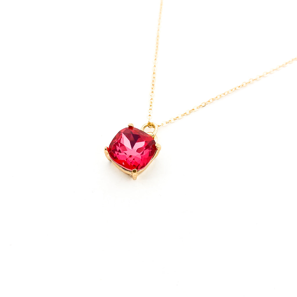 RUBY CUSHION STONE NECKLACE | GOLD