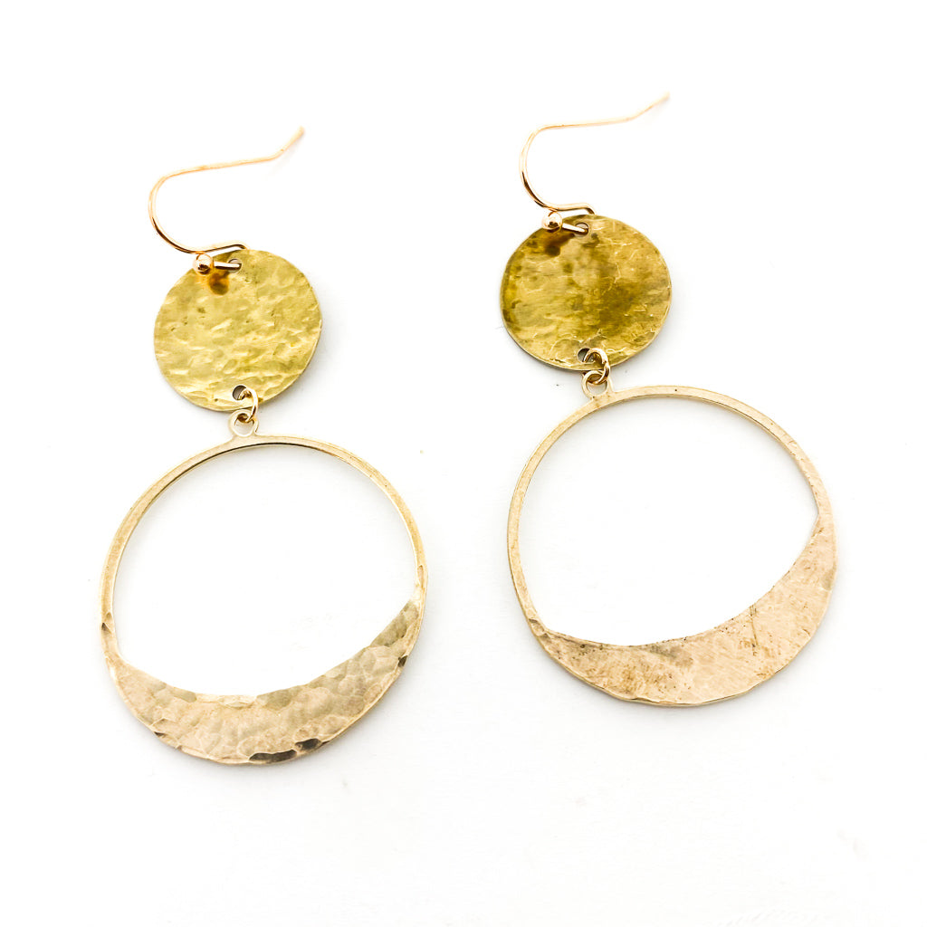 HAND HAMMERED HANGING DOUBLE SPHERE EARRINGS | BRASS