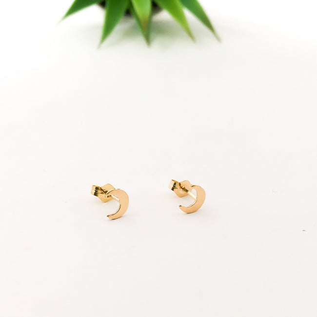 MOON STUD EARRINGS | 14K GOLD-FILLED