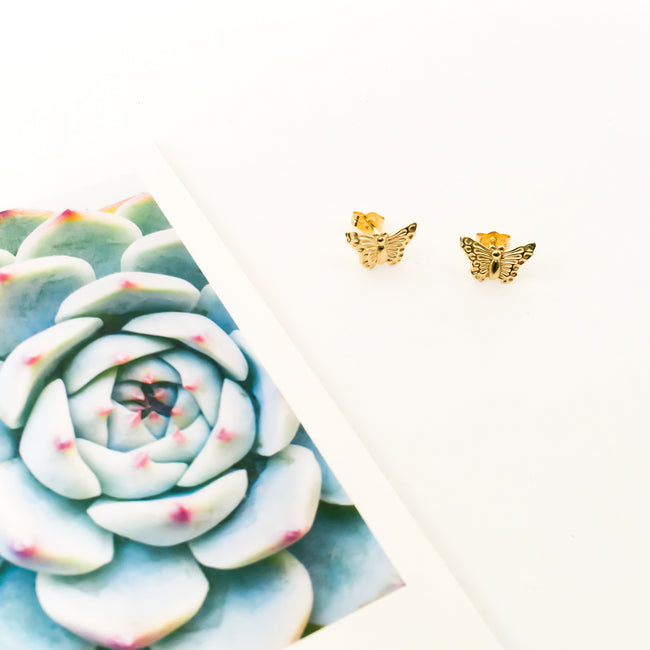 BUTTERFLY STUD EARRINGS | 14K GOLD-FILLED