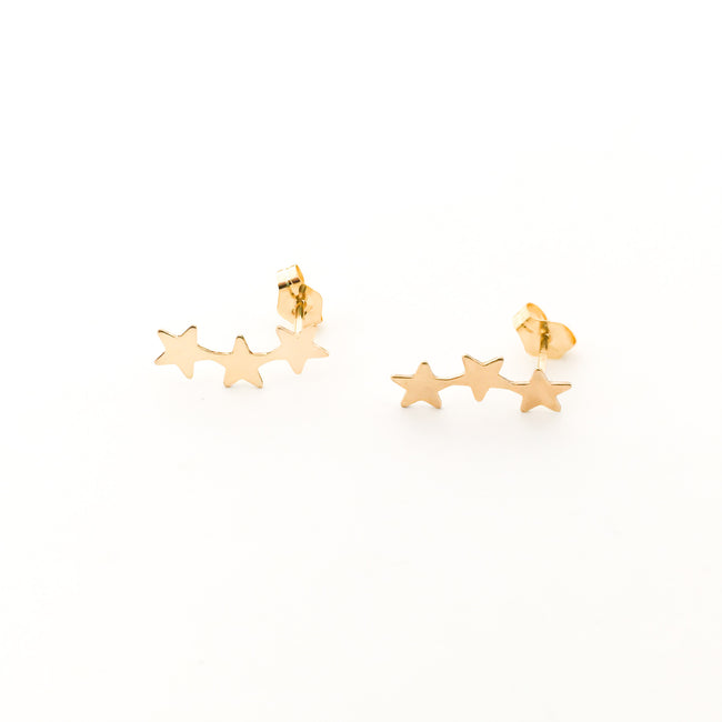 TRIPLE STAR STUD EARRINGS | 14K GOLD-FILLED