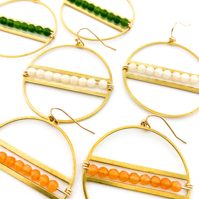 AGATE STONE BEADED HOOP EARRINGS | GOLD | STYLE OPTIONS