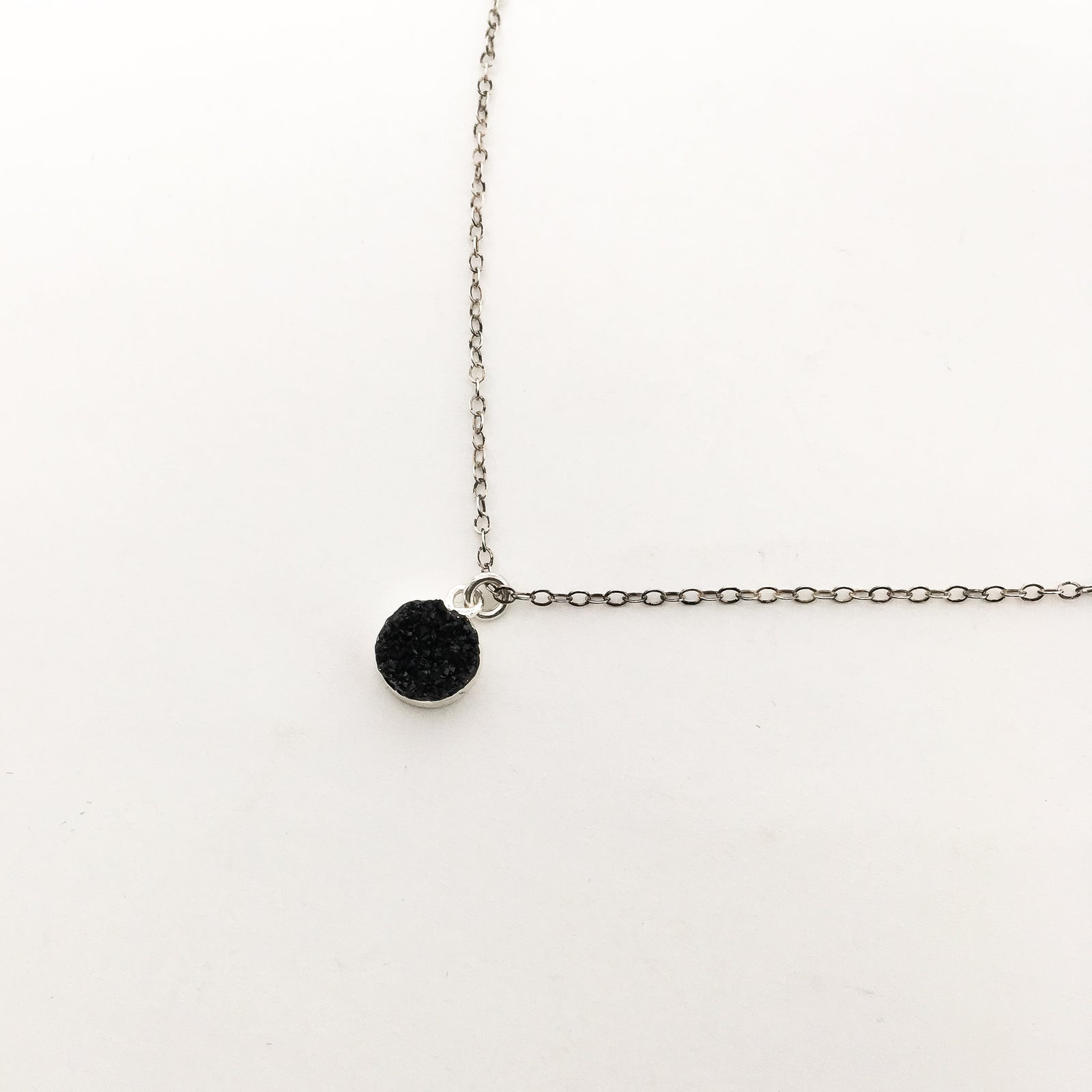 BLACK DRUZY STONE SPHERE NECKLACE | STERLING SILVER