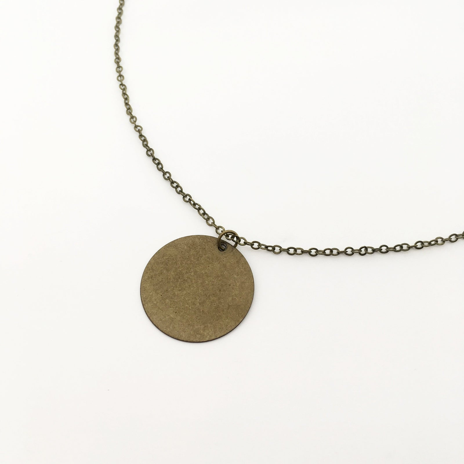 LARGE BRONZE DISK NECKLACE