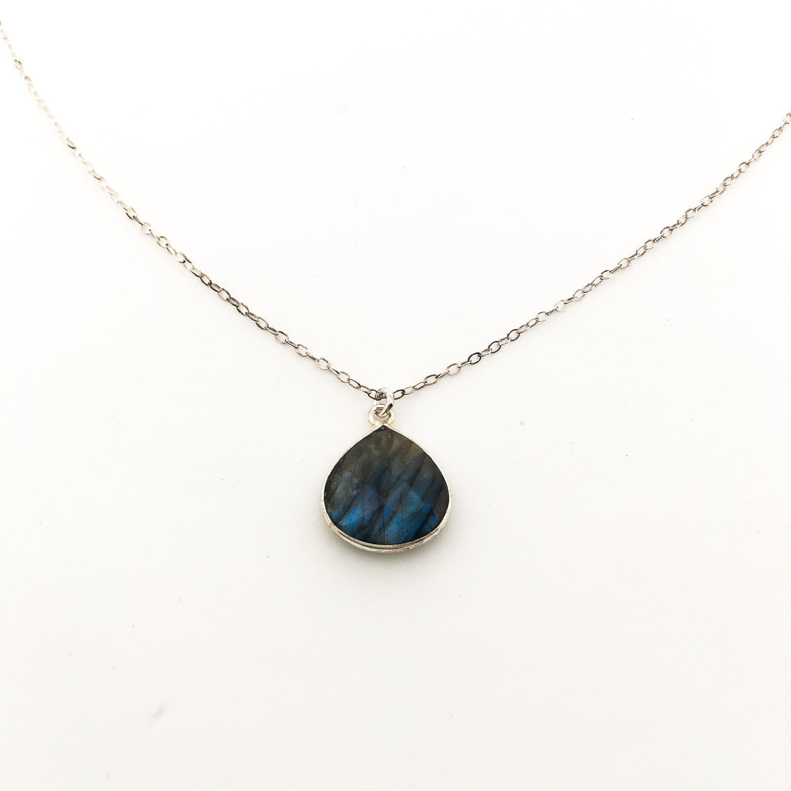 LABRADORITE STONE DROP NECKLACE | STERLING SILVER