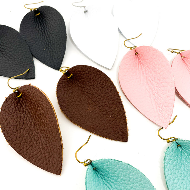 TEXTURED LEATHER LEAF DROP EARRINGS | STYLE OPTIONS