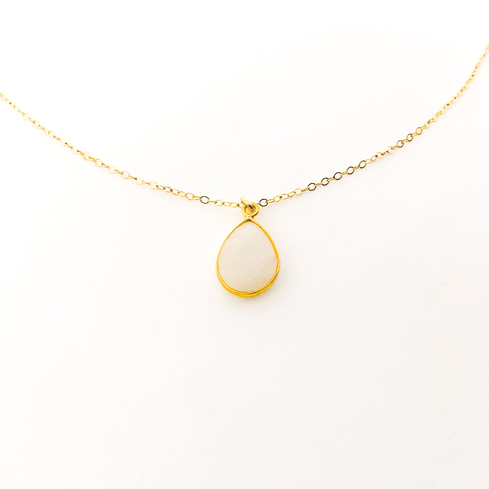 MEDIUM TEAR DROP MOONSTONE NECKLACE | 14K GOLD-FILLED