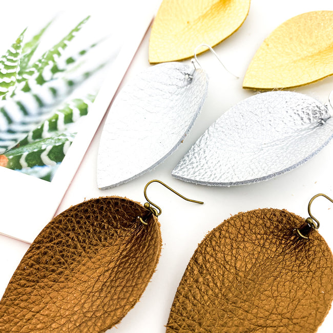 METALLIC TEXTURED LEATHER LEAF DROP EARRINGS | STYLE OPTIONS