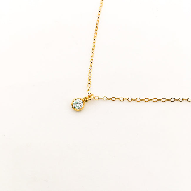 MINI HANGING RHINESTONE NECKLACE | 14K GOLD-FILLED