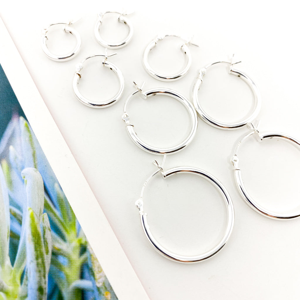 THICK HOLLOW HOOPS | STERLING SILVER |  SIZE OPTIONS
