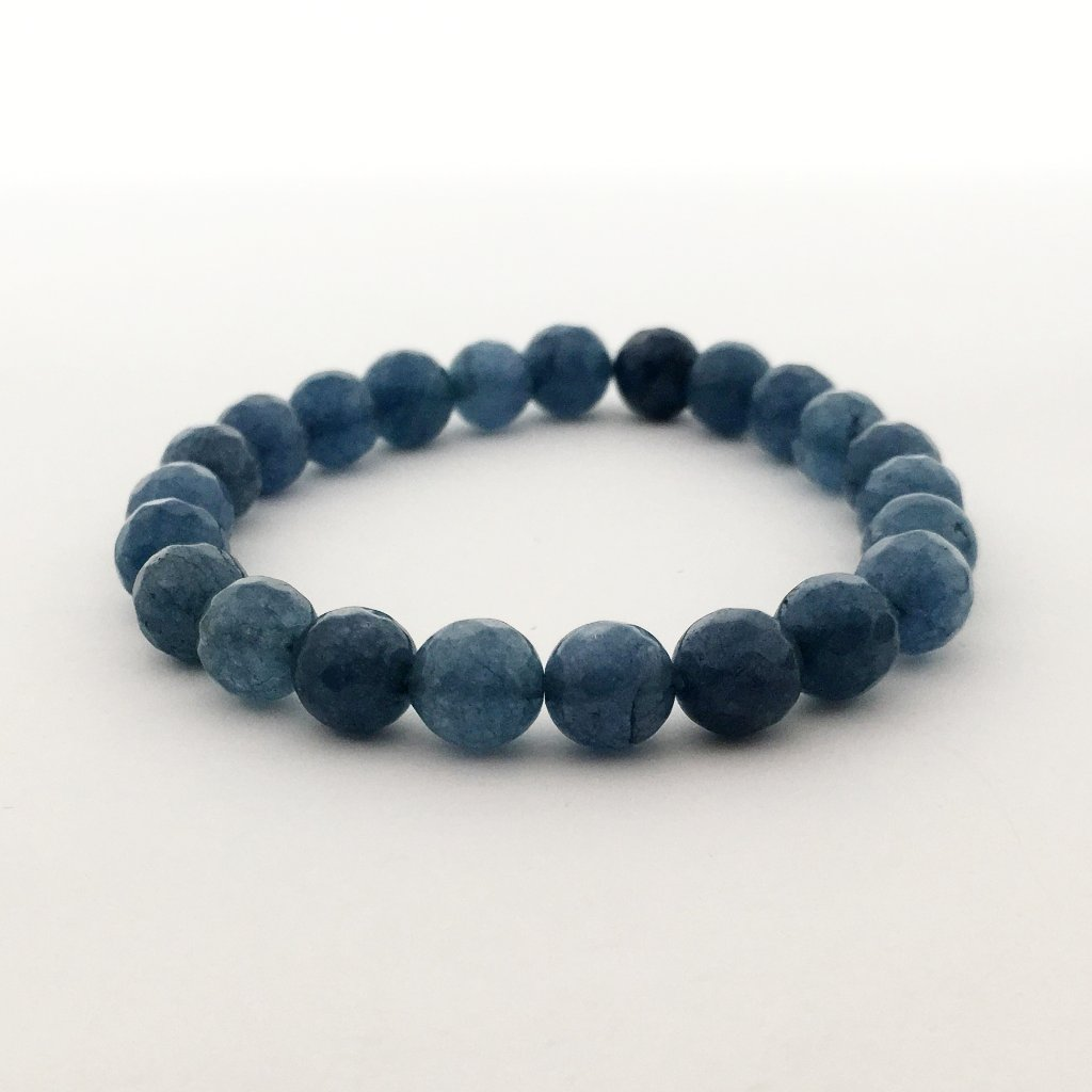 FACETED AGATE STONE BRACELETS | 8MM | SOLID COLOR OPTIONS