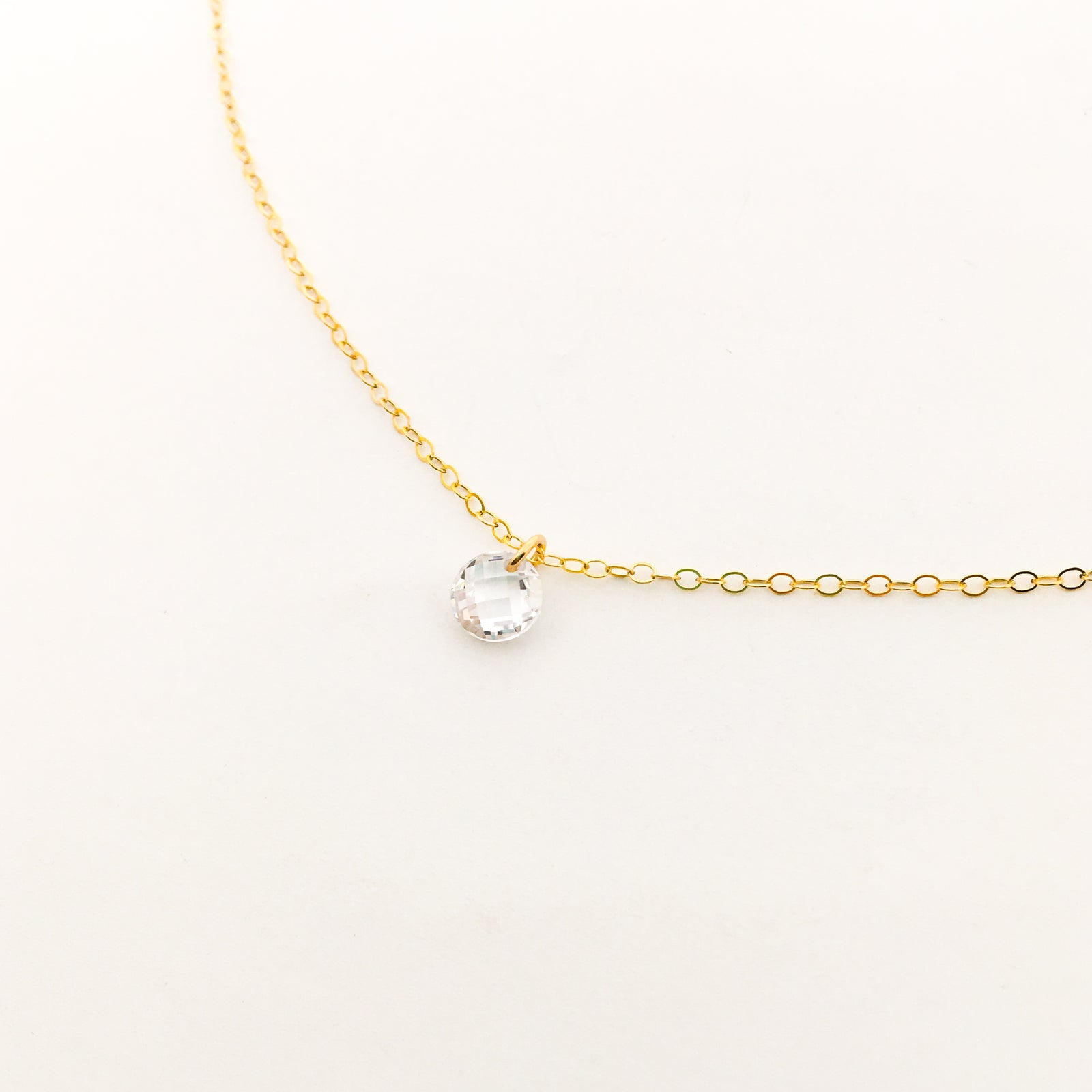 HANGING CRYSTAL NECKLACE | 14K GOLD-FILLED