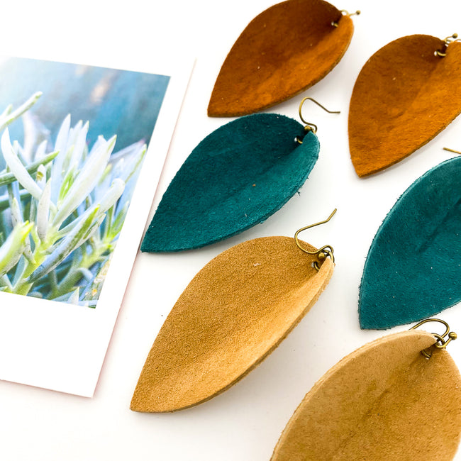 LEATHER LEAF DROP EARRINGS | STYLE OPTIONS