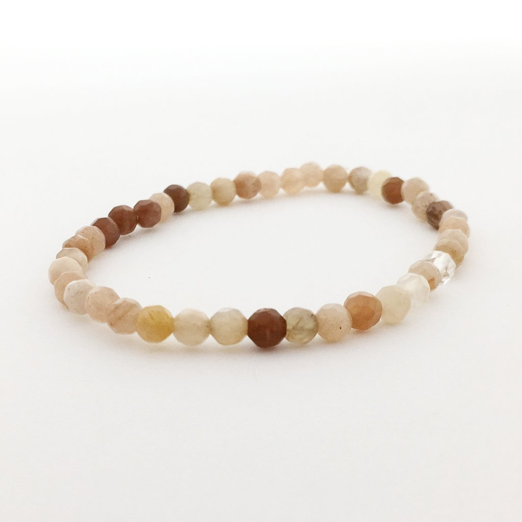 FACETED AGATE STONE BRACELETS | 4MM | LIGHT COLOR OPTIONS