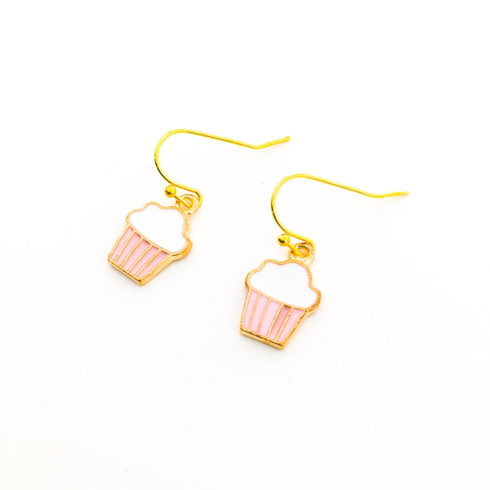 PINK CUPCAKE EARRINGS | GOLD
